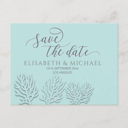 Purist blue embossed romantic coral calligraphy announcement