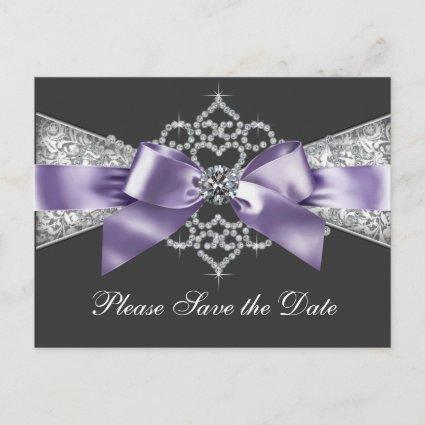 Purple and Black Save The Date Announcement
