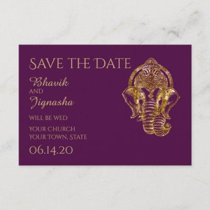 Purple and Gold Indian Wedding Save the Date