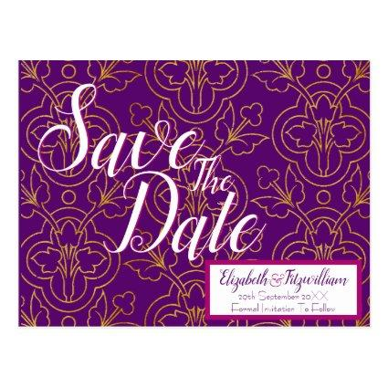 Purple and Gold Save the Date Cards