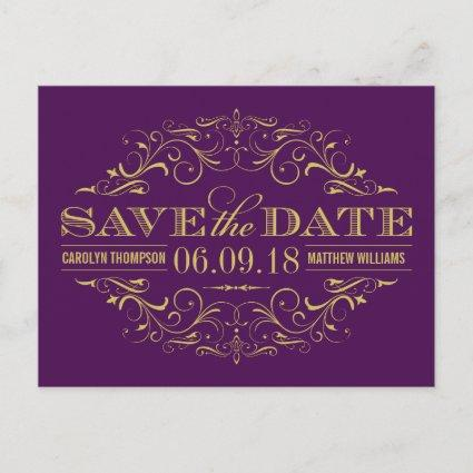 Purple and Gold | Swirl and Flourish Save the Date Announcement