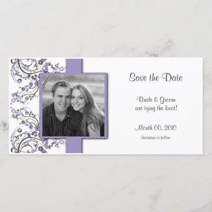 Purple and Grey Floral Save the Date Photo
