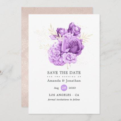 Purple and Ivory Floral Wedding Save The Date