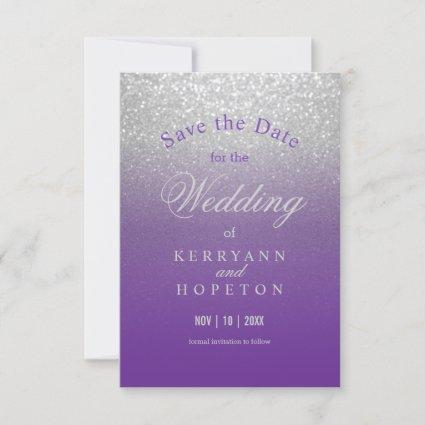 Purple and Silver Glitter - Save The Date