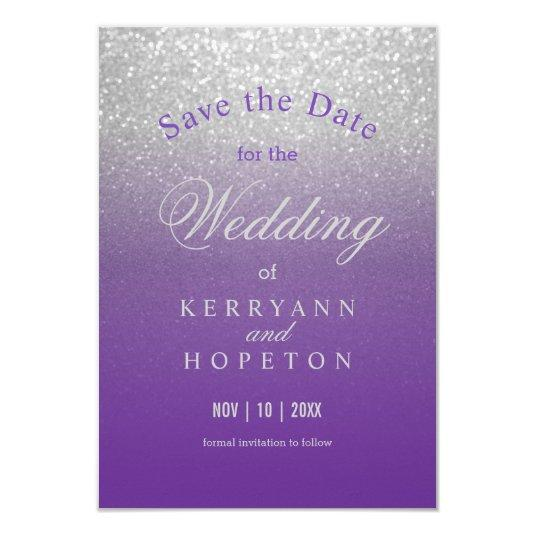 Purple and Silver Glitter - Save The Date Card