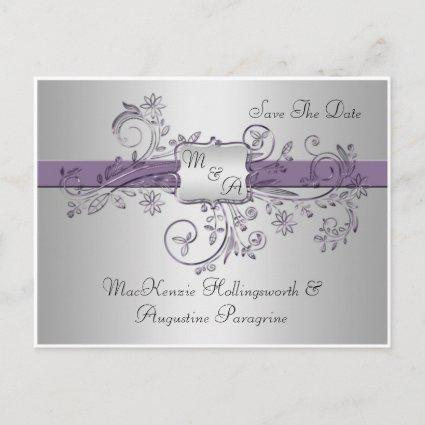 Purple and Silver Monogram Floral Swirls Save The Announcement