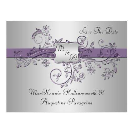 Purple and Silver Monogram Floral Swirls Save The Cards