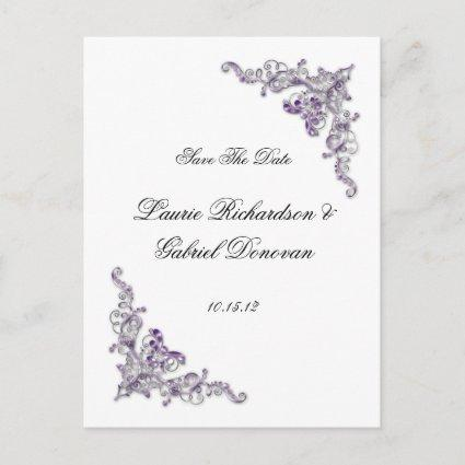Purple and Silver Ornate Jeweled Save The Date Announcement