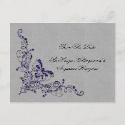 Purple and Silver Swirls Save The Date Announcements Cards