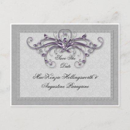 Purple and Silver Swirls Save The Date Announcement