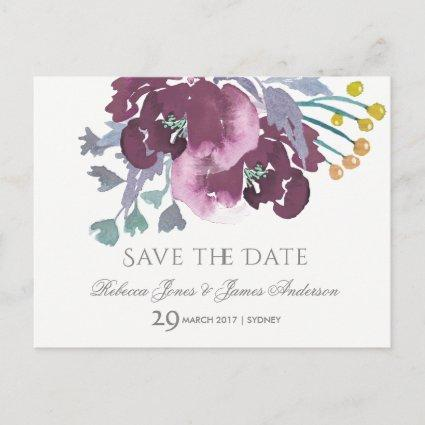 PURPLE, AQUA BLUE WATERCOLOUR FLORAL Save the date Announcement