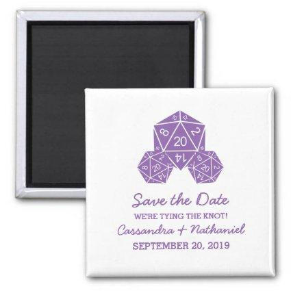 Purple D20 Dice Save the Date Magnet