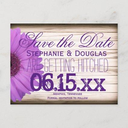 Purple Daisy Rustic Wood Save the Date Cards