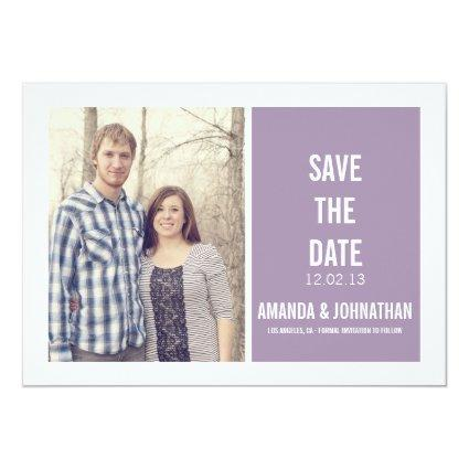 Purple Design Photo Save The Date Announcements