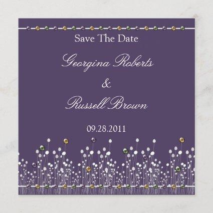 Purple Embellished Save The Date