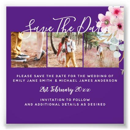 Purple Engagement Photo Save the Date BUDGET
