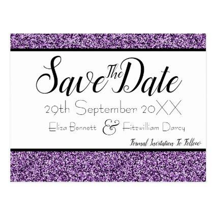 Purple Faux Glitter Save the Date Cards