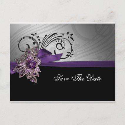 Purple FAUX ribbon vintage brooch Wedding Announcements Cards