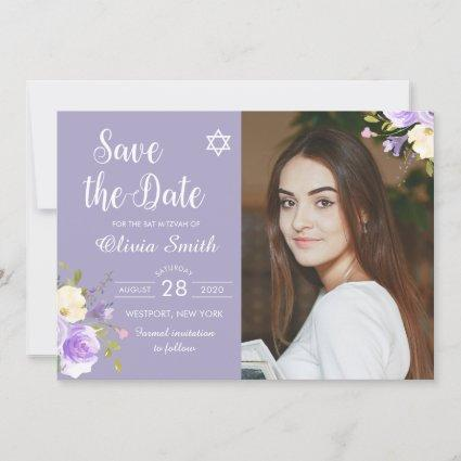 Purple Floral Bat Mitzvah Photo Save The Date