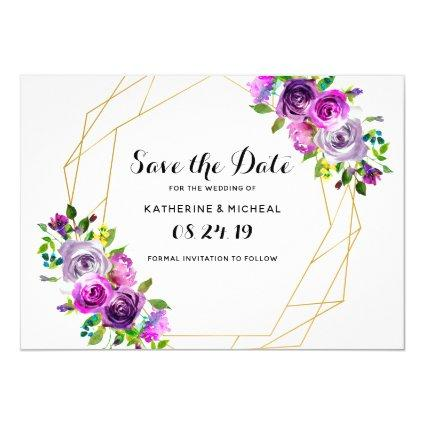 Purple floral geometric save the date invitation