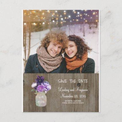 Purple Floral Mason Jar Rustic Photo Save the Date Announcement