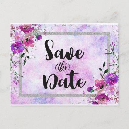 Purple Floral & Silver Frame Wedding Save the Date Announcement