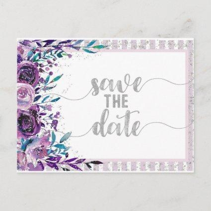Purple Floral & Silver Wedding Save the Date Announcement