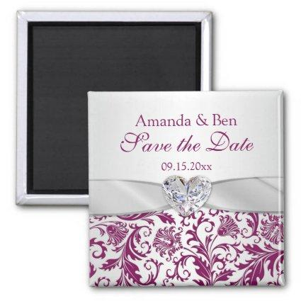Purple floral swirls damask Save the Date Magnet