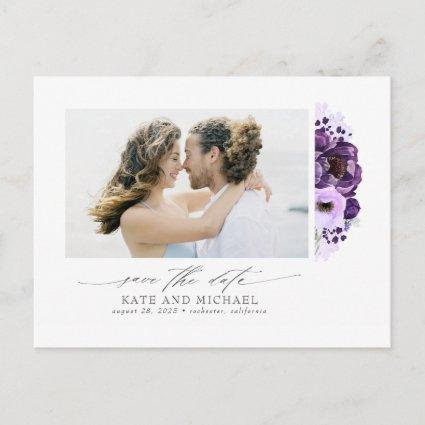 Purple Flowers Elegant Modern Save the Date Photo Announcement