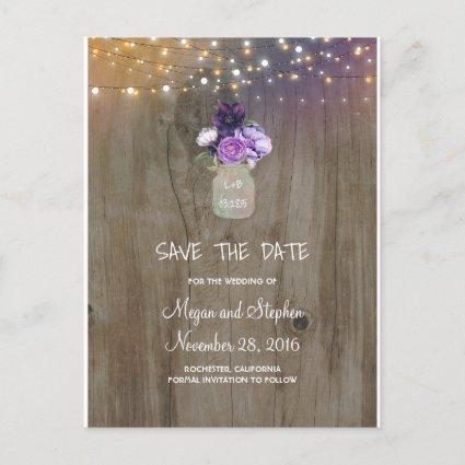 Purple Flowers Mason Jar Rustic Save the Date Announcement