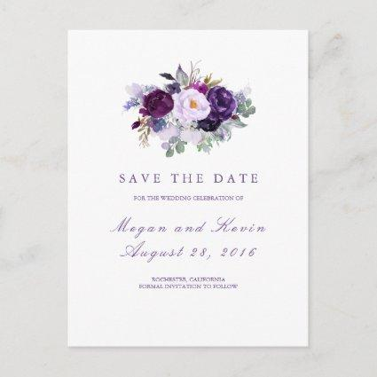 Purple Flowers Romantic Save the Date Announcement