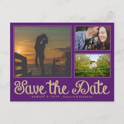 Purple Fun Chalk Save The Date Collage Cards