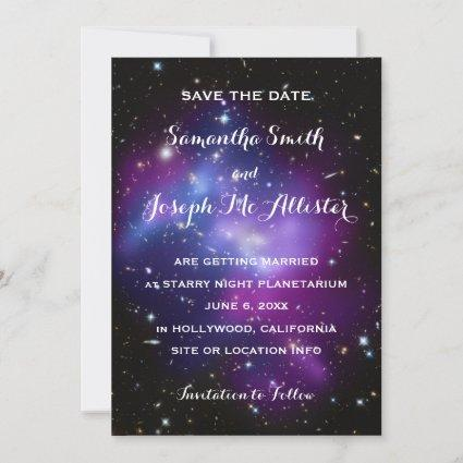 Purple Galaxy Cluster Save the Date