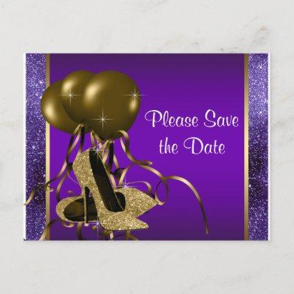 Purple Gold High Heel Shoe Save The Date Announcement