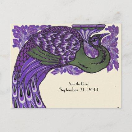 Purple Green Vintage Peacock Save the Date Announcement