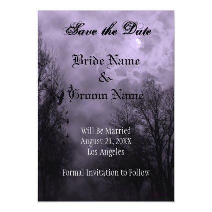 Purple Haunted Sky Custom Save the Date Magnet