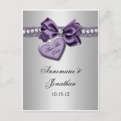 Purple Heart Ribbon Diamonds Silver Save The Date Announcements Cards