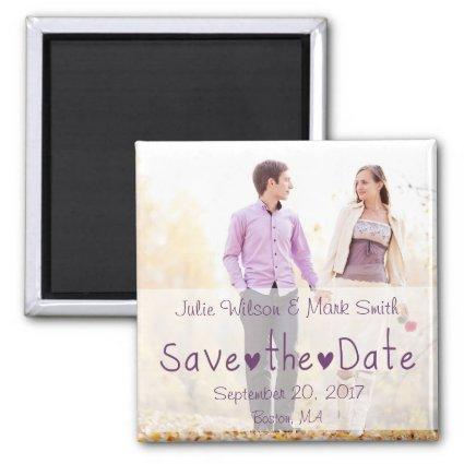 Purple Hearts Modern Photo Save the Date Magnets