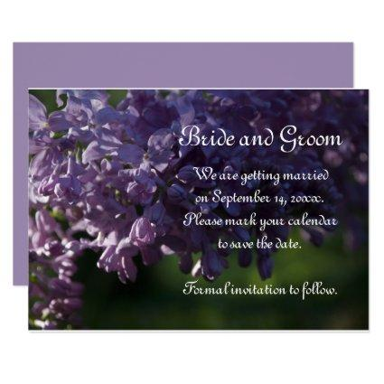 Purple Lilac Flowers Wedding Save the Date Invitation