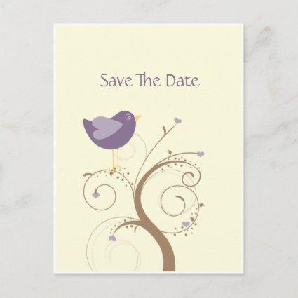 Purple Lovebird and Hearts Save The Date Announcements Cards