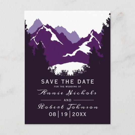 Purple mountain winter wedding Save the Date Announcement