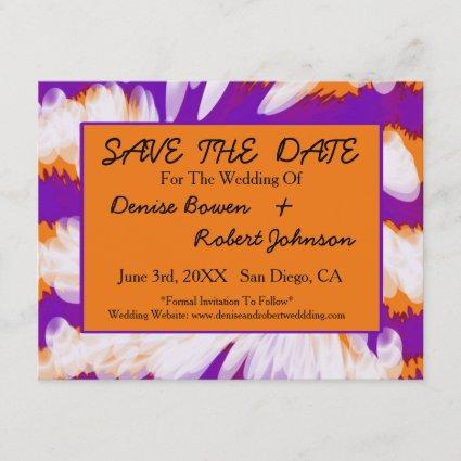 Purple Orange Tie Dye Swirl Save the Date