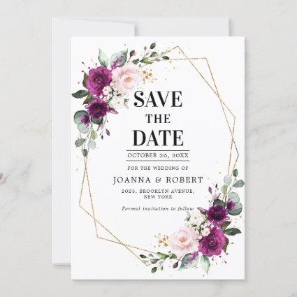 Purple plum Blush Pink Rose Boho Geometric Wedding Save The Date