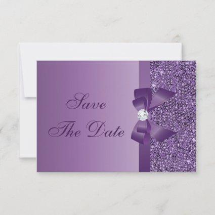 Purple Printed Sequins Wedding Save the Date