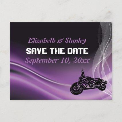 Purple road biker wedding