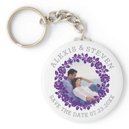 Purple roses floral Save the Date photo Keychain