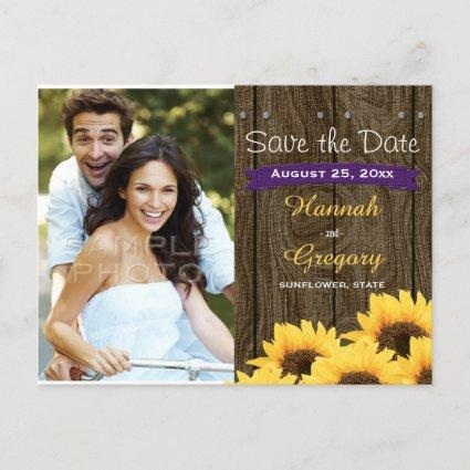 PURPLE RUSTIC SUNFLOWER SAVE THE DATE Cards