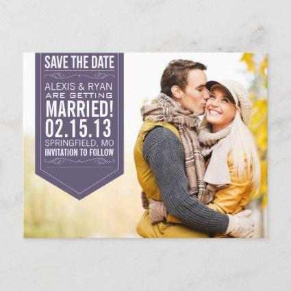 Purple Save The Date Announcements Cards
