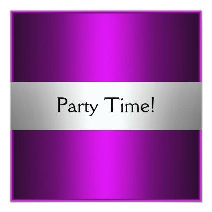 Purple Silver Birthday Party Personalized Cards