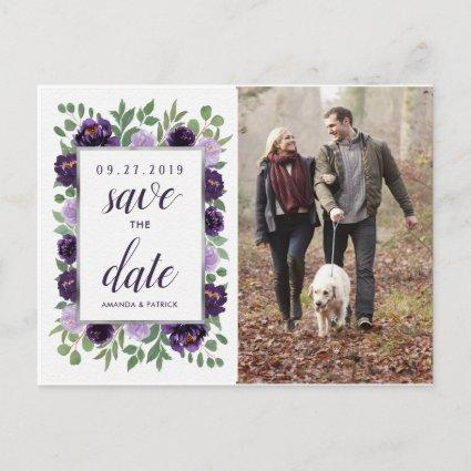 Purple Silver Floral Green Wedding Save the Date Announcement